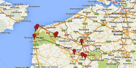 Mapa de Nord-pas de Calais